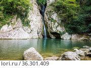 Waterfall in the Agur gorge near Sochi, Russia. Стоковое фото, фотограф Zoonar.com/Aleksey Butenkov / easy Fotostock / Фотобанк Лори