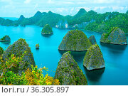 Indonesia. Many small rocky islands, covered with wood and azure water. Стоковое фото, фотограф Zoonar.com/Mikhail Pavlov / easy Fotostock / Фотобанк Лори