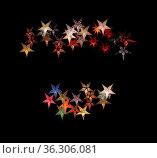 Colorful paper stars isolated on black margin Christmas holidays winter... Стоковое фото, фотограф Zoonar.com/ArtesiaWells / easy Fotostock / Фотобанк Лори