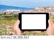 Travel concept - tourist photographs of mountain flowering meadow... Стоковое фото, фотограф Zoonar.com/Valery Voennyy / easy Fotostock / Фотобанк Лори