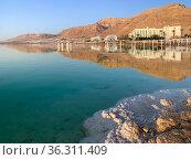 Hotels in the Ein Bokek oasis at the Dead Sea. Редакционное фото, фотограф Irina Opachevsky / Фотобанк Лори