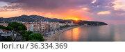 LLORET DE MAR, SPAIN - JUNE 25, 2016: Panorama of Lloret de Mar in... Стоковое фото, фотограф Zoonar.com/Andrey Omelyanchuk / age Fotostock / Фотобанк Лори