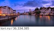 ZURICH, SWITZELAND - 04 June, 2016: Zurich Skyline and Limmat River... Стоковое фото, фотограф Zoonar.com/Andrey Omelyanchuk / age Fotostock / Фотобанк Лори