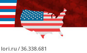 Image of usa map coloured in american flag over stars and stripes. Стоковое фото, агентство Wavebreak Media / Фотобанк Лори