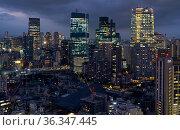 Tokyo night scene. ARK Hills as seen from the Tokyo Tower at night time. Tokyo. Japan (2019 год). Редакционное фото, фотограф Serg Zastavkin / Фотобанк Лори