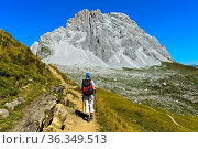 Wanderer vor dem Gipfel Sulzfluh, St. Antönien, Prättigau, Graubünden... Стоковое фото, фотограф Zoonar.com/Pant / age Fotostock / Фотобанк Лори
