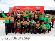 Der Deutsche Skiverband (DSV) hat die Nationenwertung gewonnen. Stolz... Стоковое фото, фотограф Zoonar.com/Joachim Hahne / age Fotostock / Фотобанк Лори