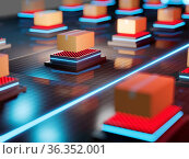 3d redner of automative sorting and delivery packages in darkstores... Стоковое фото, фотограф Zoonar.com/Alexandra Troyan / easy Fotostock / Фотобанк Лори