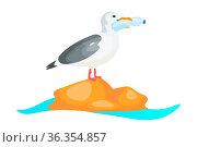 Seagull with plastic bottle in beak flat concept icon. Plastic pollution... Стоковое фото, фотограф Zoonar.com/Natalia Nesterenko / easy Fotostock / Фотобанк Лори