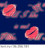 Randloses Muster mit roten Lippenabdrücken und dem Text. Стоковое фото, фотограф Zoonar.com/Leopold Brix / easy Fotostock / Фотобанк Лори