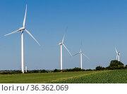 Landscape of energy efficient wind turbine at the countryside near... Стоковое фото, фотограф Marquicio Pagola / age Fotostock / Фотобанк Лори