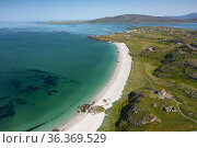 Aerial view from drone of white sand beach on Sound of Barra and ... Стоковое фото, фотограф Iain Masterton / age Fotostock / Фотобанк Лори