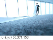Office worker unrolling long sheet of paper. Стоковое фото, фотограф Zoonar.com/Tatiana Badaeva / easy Fotostock / Фотобанк Лори