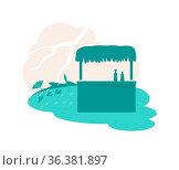 Rain natural disaster 2D vector web banner, poster. Tropical tornado... Стоковое фото, фотограф Zoonar.com/Natalia Nesterenko / easy Fotostock / Фотобанк Лори
