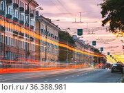 Gomel, Belarus. Speed Traffic And Light Trails On Lenin Avenue Street... Стоковое фото, фотограф Ryhor Bruyeu / easy Fotostock / Фотобанк Лори