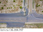 Highway crossing in Nebraska Sandhills - overhead aerial view. Стоковое фото, фотограф Zoonar.com/Marek Uliasz / easy Fotostock / Фотобанк Лори