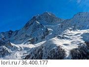 Schneebedeckter Gipfel Aletschhorn über dem Lötschental, Luftbild... Стоковое фото, фотограф Zoonar.com/Mike / easy Fotostock / Фотобанк Лори
