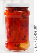 Canned roasted sweet peppers. Стоковое фото, фотограф Яков Филимонов / Фотобанк Лори