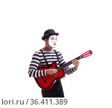 Mime playing guitar isolated on white. Стоковое фото, фотограф Elnur / Фотобанк Лори