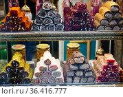Turkish delight of various varieties on showcase. Стоковое фото, фотограф Яков Филимонов / Фотобанк Лори