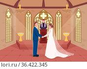 Religious wedding ceremony flat color vector illustration. Priest... Стоковое фото, фотограф Zoonar.com/Natalia Nesterenko / easy Fotostock / Фотобанк Лори