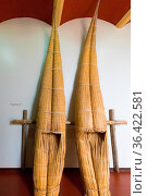 Peru July 2018 Detail of traditional boats in Chan Chan museum, northern... Стоковое фото, фотограф Zoonar.com/Marco Bonacini / easy Fotostock / Фотобанк Лори