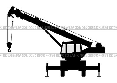 The crane Silhouette on a white background