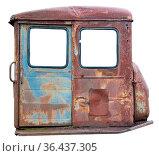 Crumpled rusty metal door of the diesel retro vintage tractor. Isolated... Стоковое фото, фотограф Zoonar.com/Aleksandr Volkov / easy Fotostock / Фотобанк Лори