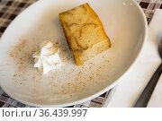 Pan de Calatrava with creme, pudding cake typical from Spain. Стоковое фото, фотограф Яков Филимонов / Фотобанк Лори