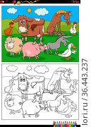 Cartoon illustration of funny farm animals characters group on the... Стоковое фото, фотограф Zoonar.com/Igor Zakowski / easy Fotostock / Фотобанк Лори