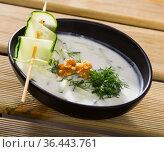 Bulgarian Tarator - traditional summer chilled vegetable soup. Стоковое фото, фотограф Яков Филимонов / Фотобанк Лори