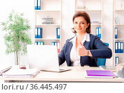 Middle-aged female employee sitting at the office. Стоковое фото, фотограф Zoonar.com/Elnur Amikishiyev / easy Fotostock / Фотобанк Лори