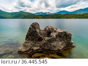 Fantastic round hike around the beautiful Eibsee at the Tiroler Zugspitze... Стоковое фото, фотограф Zoonar.com/MindScape Photography - Michael Pedrott / easy Fotostock / Фотобанк Лори