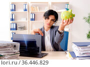Middle aged businesslady unhappy with excessive work. Стоковое фото, фотограф Zoonar.com/Elnur Amikishiyev / easy Fotostock / Фотобанк Лори