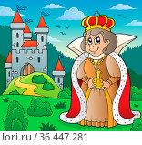 Happy queen near castle theme 6 - picture illustration. Стоковое фото, фотограф Zoonar.com/Klara Viskova / easy Fotostock / Фотобанк Лори