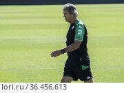 La plantilla del primer equipo del Real Betis Balompié se ha entrenado... Редакционное фото, фотограф Salvador López Medina / age Fotostock / Фотобанк Лори