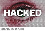 Hacked auge blickt auf betrachter konzept. Стоковое фото, фотограф Zoonar.com/WSF / easy Fotostock / Фотобанк Лори