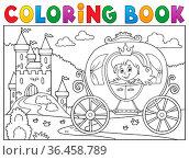 Coloring book princess carriage theme 2 - picture illustration. Стоковое фото, фотограф Zoonar.com/Klara Viskova / easy Fotostock / Фотобанк Лори