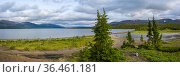 Панорама горного озера на плато Путорана. Стоковое фото, фотограф Сергей Дрозд / Фотобанк Лори