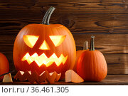 Carved halloween pumpkin. Стоковое фото, фотограф Иван Михайлов / Фотобанк Лори