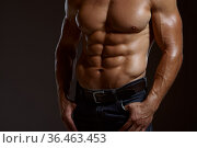Male muscular athlete poses in studio. Стоковое фото, фотограф Tryapitsyn Sergiy / Фотобанк Лори