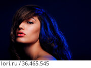Portrait of beautiful brunette woman with hairstyle with bangs in... Стоковое фото, фотограф Zoonar.com/Max / easy Fotostock / Фотобанк Лори