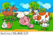 Cartoon Illustration of Country Scene with Farm Animal Characters... Стоковое фото, фотограф Zoonar.com/Igor Zakowski / easy Fotostock / Фотобанк Лори