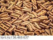 Background of random letterpress wood type printing blocks. Стоковое фото, фотограф Zoonar.com/Marek Uliasz / easy Fotostock / Фотобанк Лори