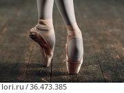 Ballerina legs in pointe close up. Стоковое фото, фотограф Zoonar.com/Max / easy Fotostock / Фотобанк Лори