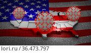 Coronavirus covid 19 against the background of the USA map. 3D render. Стоковое фото, фотограф Zoonar.com/Roman Ivashchenko / easy Fotostock / Фотобанк Лори