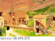 David Gareji or Garedja cave monastery complex aerial view in Georgia... Стоковое фото, фотограф Zoonar.com/Nataliya_Nazarova{} / easy Fotostock / Фотобанк Лори