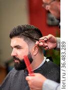 Handsome bearded man, having hair cut by scissors at barber shop. Стоковое фото, фотограф Zoonar.com/DAVID HERRAEZ CALZADA / easy Fotostock / Фотобанк Лори