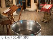 Orthodox Christian utensils in the church. Epiphany ceremony rite... Стоковое фото, фотограф Zoonar.com/Max / easy Fotostock / Фотобанк Лори