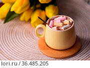 Multicolored marshmallows in a coffee cup. a soft dessert for a gourmet... Стоковое фото, фотограф Zoonar.com/VASYLIEVA OLENA / easy Fotostock / Фотобанк Лори